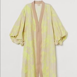 NWT H&M neon kaftan robe dress puff sleeve Sz Sm
